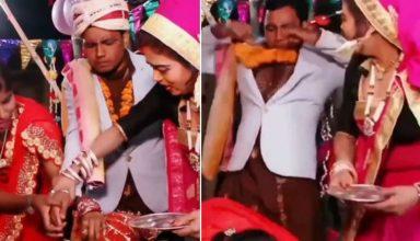VIDEO : सिंदूर भरने की रस्म के दौरान दुल्हन को देख भाग खड़ा हुआ दूल्हा, फेंका गले में पहना माला और…